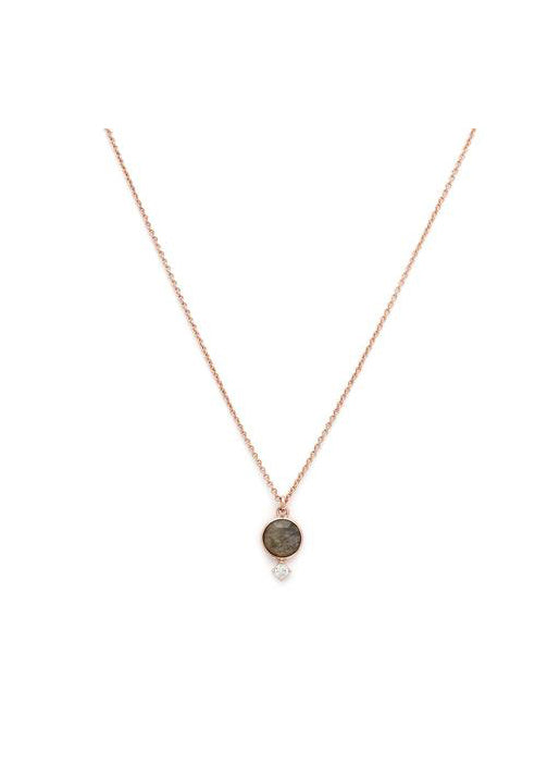 Thea Necklace - Rose gold & Labradorite