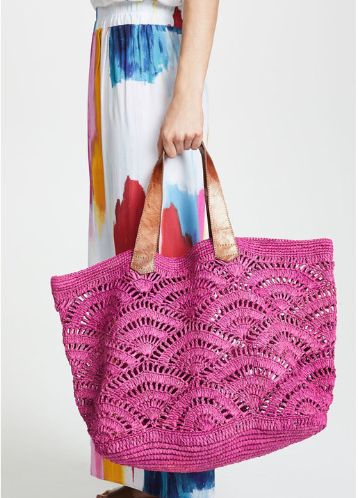Tulum Crocheted Tote Bag - Fuchsia