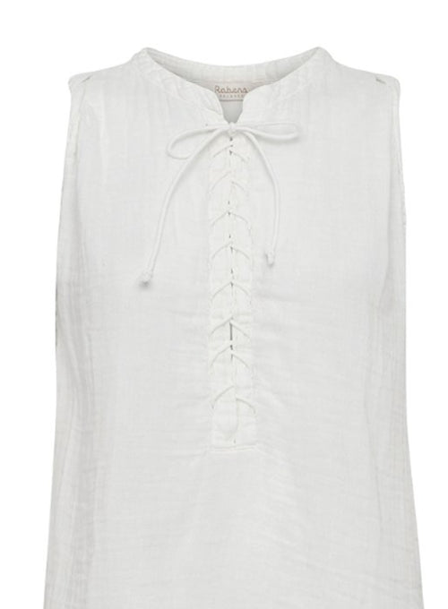 Sleeveless Tie Neck Cotton Dress - White