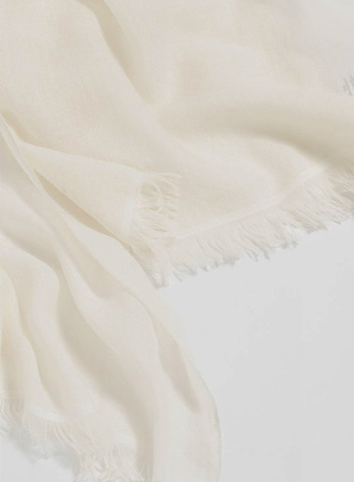 Fringe Cashmere Travel wrap - Ivory