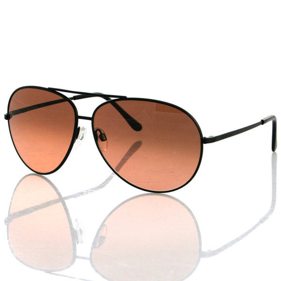 Serengeti- Large Aviator Matte Black Frame Gradient Lens