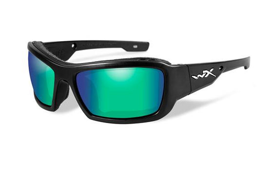 Wiley X- Knife Gloss Black Frame Polarized Green Mirror