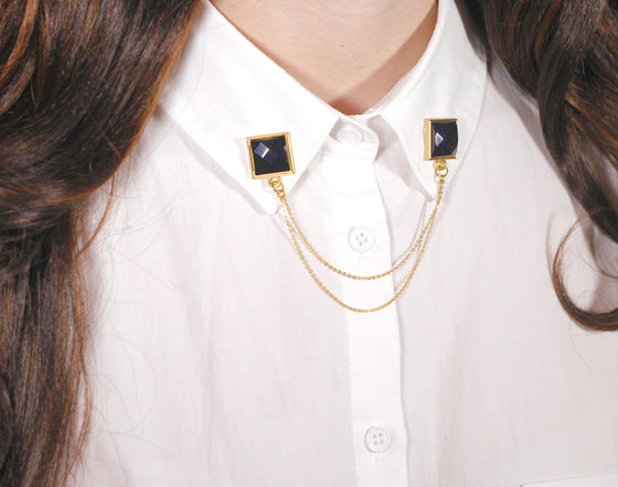 Black Gem Collar Pins