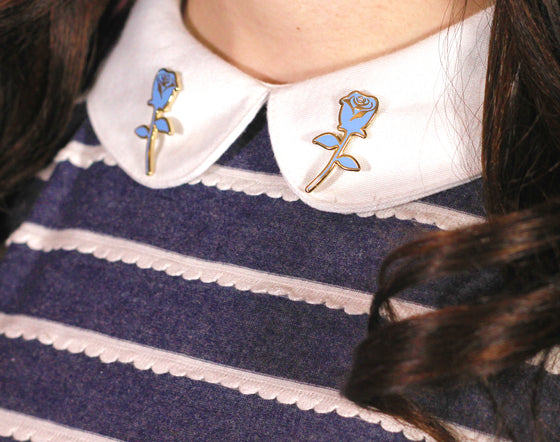 Blue Rose Collar Pins