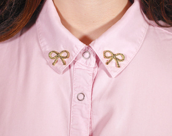 Gold Bow Collar Pins