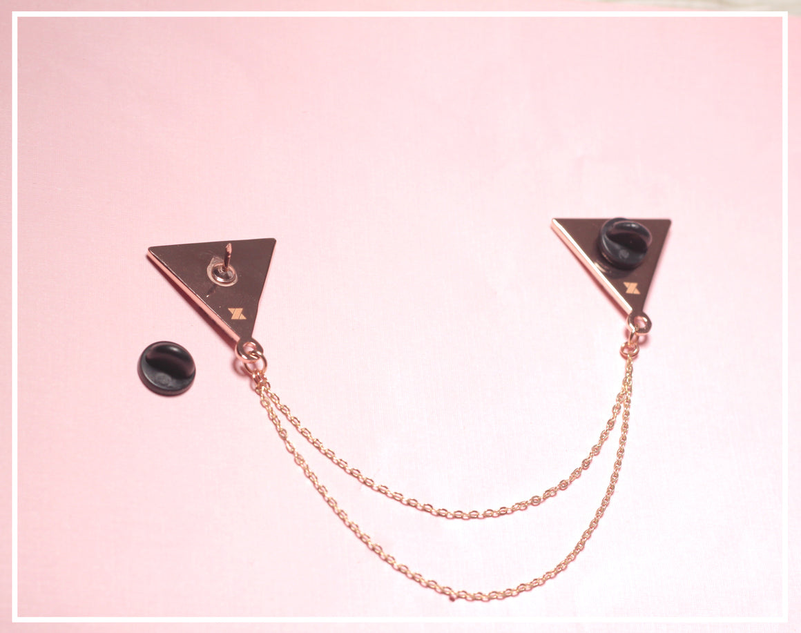 Rose Gold Marble Triangle Collar Pins