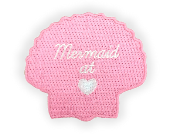 Pink Mermaid at Heart Shell Iron-on Patch