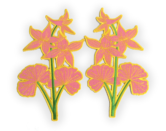 Pink Wildflower Iron-on Embroidered Patch Set