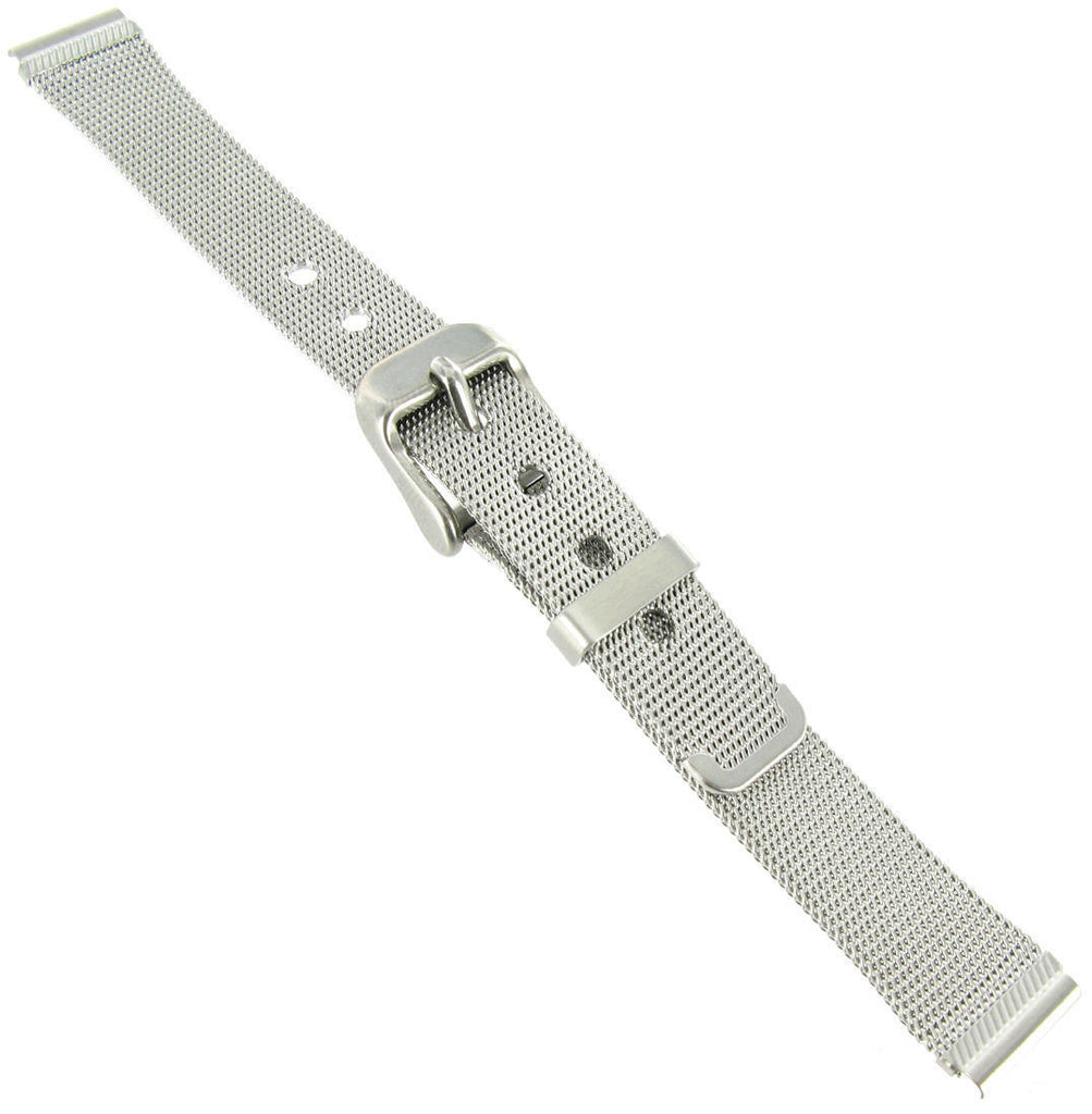 14mm Reinforced Mesh Stainless Steel Silver Tone Ladies Watch Band - La Century