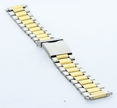 18-22MM Metal Strap/Band Stainless Steel Two Tone Silver/Gold Color - La Century