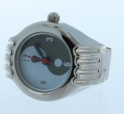 yin yang Symbol Ring Watch with Silver Tone Case and Expandable Shank - La Century