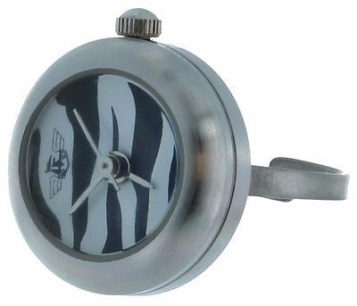 zebra Dial Ring Watch with Silver Tone Case and adjustable band #2 - La Century