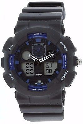 Fashion Watch Anti SHOCK digital Sports Dual time analog Men blk/blue - La Century