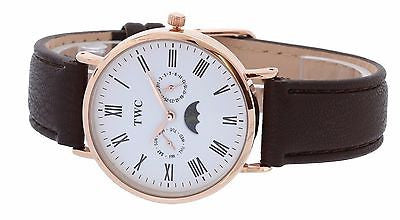Sun & Moon Mens TWC Rose Gold  Analog Watch Day & Date White Dial Black Band - La Century