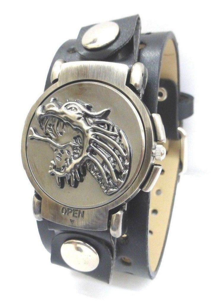 Biker Watch/Rotating Case/Flying Dragon Face/Wide Leather Strap/Quartz Analog - La Century