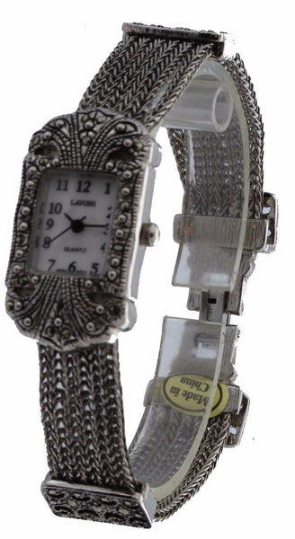 Vintage Bracelet Marcasite Antique Lady Special Occasion Rectangular  Watch - La Century