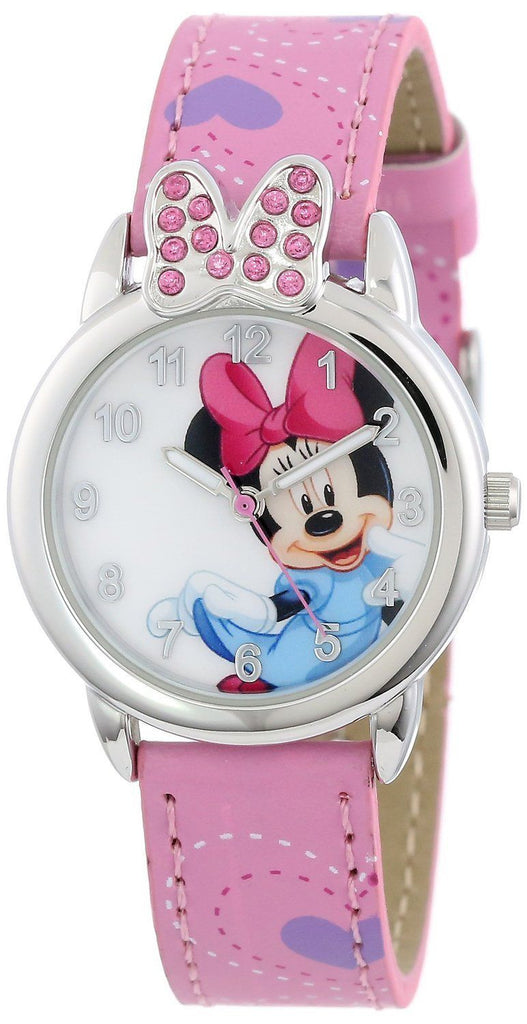 Disney Minnie Mouse Stone Bow Min061 Pink Leather Classic Analog Watch - La Century