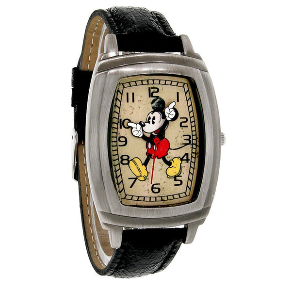 Disney Mickey Mouse Rectangular Antiqued Black Leather Band Quartz Watch MCK762 - La Century