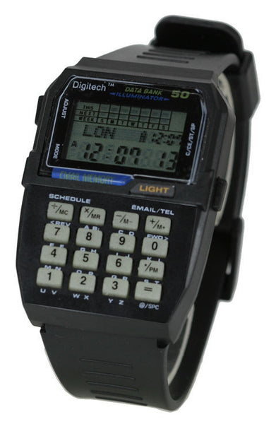 50 memory data bank calculator watch - La Century