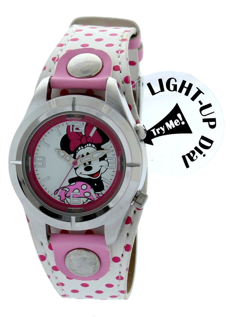 Disney Luminous Minnie Mouse Watch with Light White With Polka Dot Band MIN604 - La Century