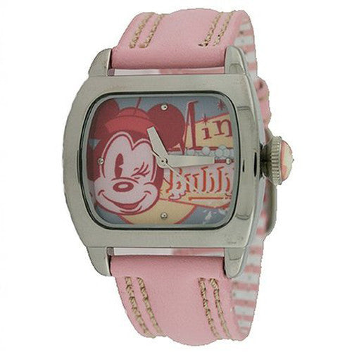 DISNEY Mini Mouse Goes Retro Fashion Teen  SQUARE ON PINK LEATHER BAND NEW - La Century