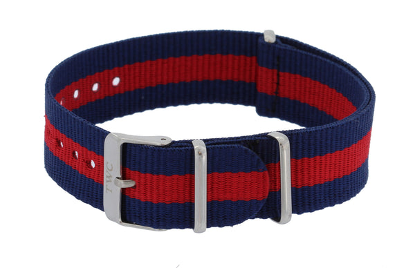 20mm CLASSIC  Nylon STRIPED Replacement Watch Strap Band - Navy Blue / Red - La Century