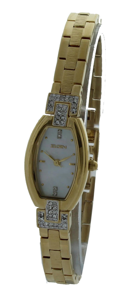 Elgin Ladies Watch #EG176 In Gold Tone With Crystal 18MM - La Century