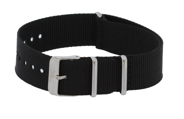 20mm CLASSIC  Nylon  Watch Strap Band - Solid Black With Silver Buckle - La Century