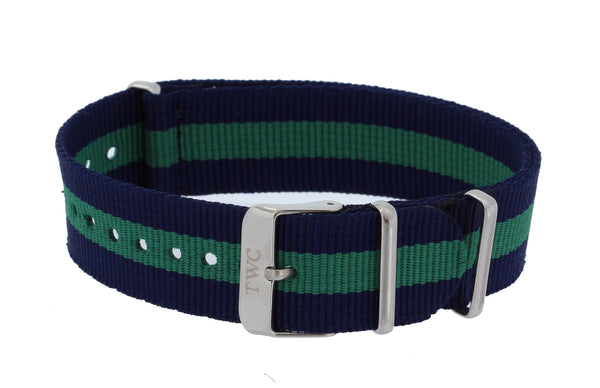 20mm CLASSIC  Nylon STRIPED Replacement Watch Strap Band - Navy Blue / Green - La Century