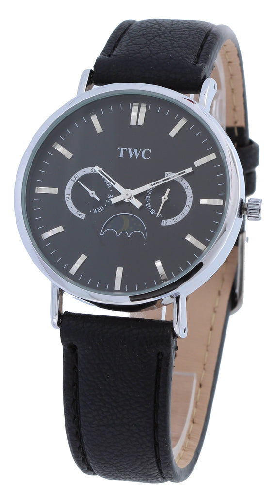 Clasic Sun & Moon Mens TWC Analog Watch Day & Date black Dial Unisex Black Band - La Century
