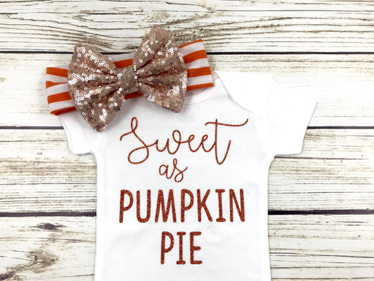 Sweet As Pumpkin Pie Baby Girl Onesie Thanksgiving Onesie