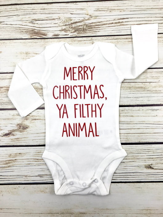 merry Christmas ya filthy animal baby boy home alone funny onesie outfit shirt for kids