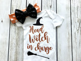 baby girl halloween head witch in charge onesie shirt