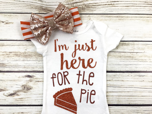 I'm just here for the pie baby girl thanksgiving outfit newborn onesie