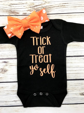 trick or treat yo self baby girl funny halloween onesie outfit