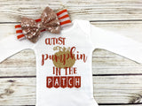 cutest pumpkin in the patch baby girl halloween fall thanksgiving outfit