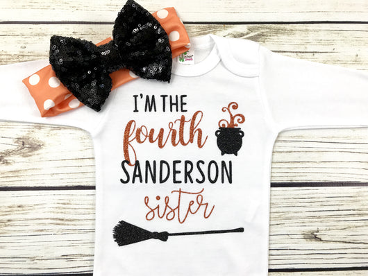 hocus locus witches baby girl onesie outfit halloween I'm the fourth Sanderson sister