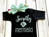 baby girl secretly a mermaid mint and black baby onesie