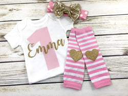 baby girl first birthday outfit pink and gold birthday party