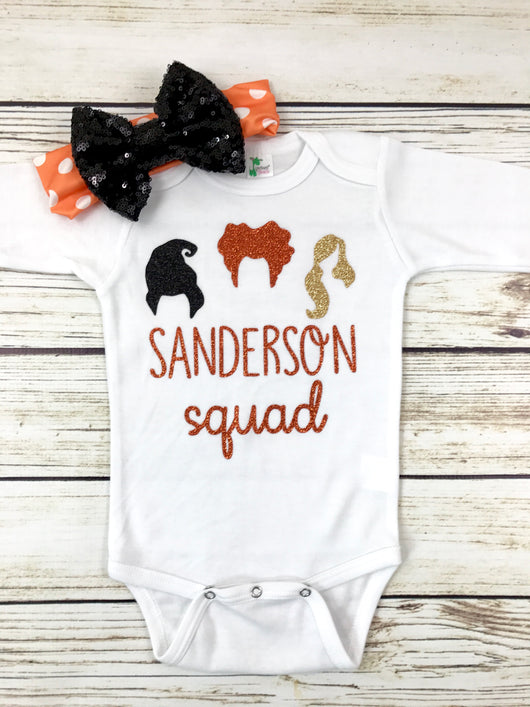 hocus locus baby shirt onesie baby girl halloween witch outfit Sanderson sisters squad