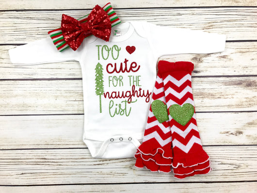 too cute naughty list baby girl Christmas outfit onesie