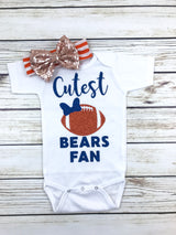 cutest bears fan Chicago bears football outfit for baby girl onesie