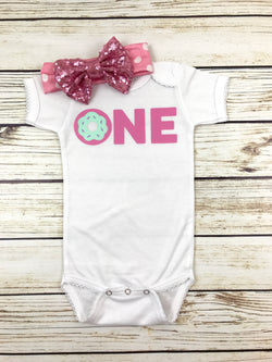 donut one first birthday girl donut onesie