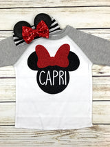 toddler girl Minnie Mouse Disney trip shirt name glitter