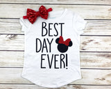 best day ever Disneyland shirt for girls baby girl toddler first Disney trip Minnie Mouse outfit shirt