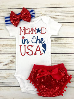 mermaid in the USA baby girl 4th of July outfit shirt