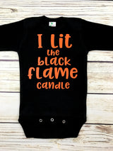 I lit the black flame candle funny baby onesie hocus pocus halloween