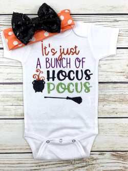 it's just a bunch of hocus locus baby girl onesie outfit halloween