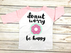 donut worry be happy girls toddler t-shirt donut party birthday