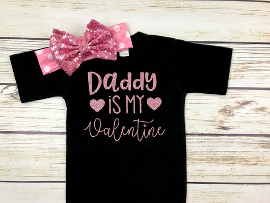 daddy is my valentine baby girl valentines day outfit newborn first valentines day